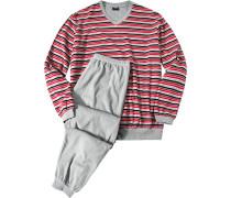 Herren Schlafanzug Pyjama Baumwoll-Frottee rot-grau gestreift grau,rot