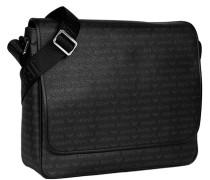 Herren Messenger Bag, Kunstleder, schwarz-grau gemustert