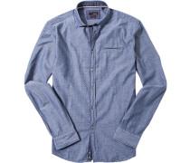 Herren Hemd Slim Fit Baumwolle blau gepunktet