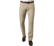 Herren Hose Chino Regular Fit Leinen-Baumwoll-Mix greige meliert