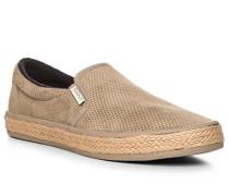 Herren Schuhe Slip Ons, Veloursleder, taupe beige