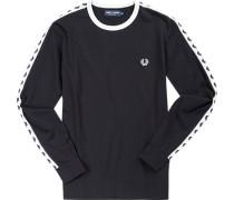 Herren T-Shirt Longsleeve Baumwolle schwarz