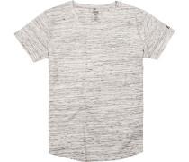 Herren T-Shirt, Baumwolle, beige-grau meliert