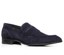 Herren Schuhe Slipper Veloursleder dunkelblau