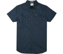 Herren Hemd Regular Fit Popeline navy blau