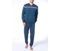 Herren Schlafanzug Pyjama Baumwolle navy-multicolor gestreift blau,multicolor