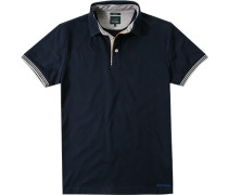 Herren Polo-Shirt Slim Fit Baumwoll-Piqué navy blau