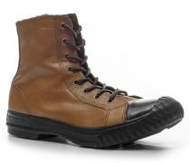 Herren Schuhe Schnürstiefeletten Leder walnuss braun
