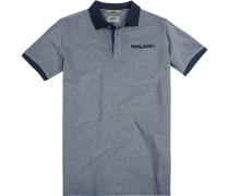 Herren Polo-Shirt, Baumwoll-Piqué, marineblau meliert
