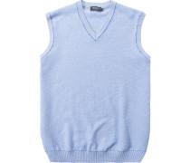 Herren Pullover Pullunder Baumwolle hellblau meliert grau