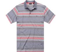 Herren Polo-Shirt, Baumwolle, lachs-grau gestreift rosa