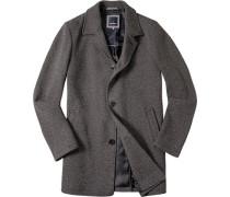 Herren Mantel Baumwoll-Woll-Mix schwarz-weiß gemustert schwarz,blau