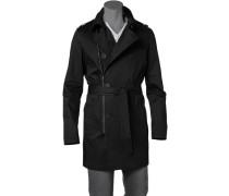 Herren Mantel Baumwolle schwarz
