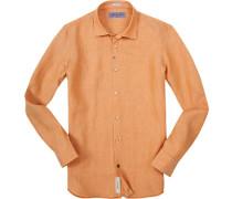 Herren Hemd Modern Fit Leinen orange