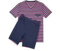 Herren Schlafanzug Pyjama Baumwolle rosa-blau gestreift