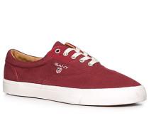 Herren Schuhe Sneaker, Twill, bordeaux rot