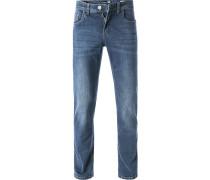 Herren Jeans, Modern Fit, Baumwoll-Stretch, blau