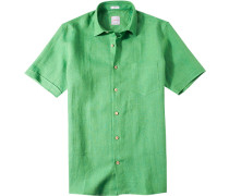 Herren Leinenhemd Modern Fit grasgrün