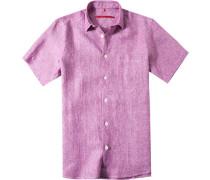 Herren Leinenhemd Classic Fit brombeere meliert violett
