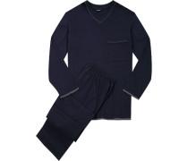 Herren Schlafanzug Baumwolljersey marine grau abgesetzt blau