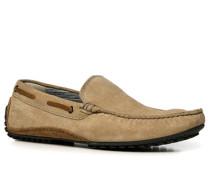 Herren Schuhe Mokassins, Veloursleder, sand beige