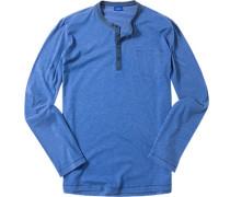 Herren Langarm-Shirt Baumwoll-Mix blau meliert