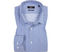 Herren Hemd Regular Fit Twill blau gestreift