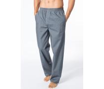 Herren Pyjamahose Baumwolle blau-grau gemustert