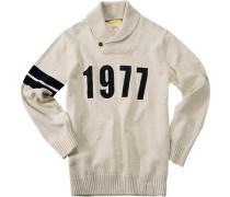 Herren Pullover Baumwolle grau-beige meliert