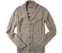 Cardigan, Mikrofaser-Wolle, beige-grau meliert