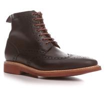 Herren Schuhe Schnürstiefeletten, Leder, dunkelbraun