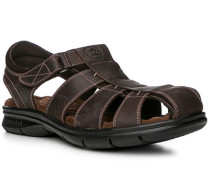 Herren Schuhe Sandalen, Nappaleder, dunkelbraun