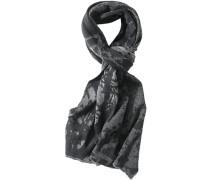Herren Schal Lammwolle grau-schwarz gemustert