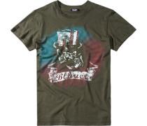 Herren T-Shirt Baumwolle khaki grün