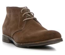 Herren Schuhe Schnürstiefeletten Veloursleder braun