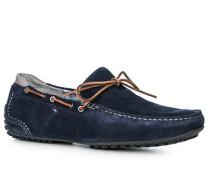 Herren Schuhe Mokassin Veloursleder blau blau,grau