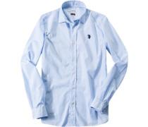 Herren Hemd, Slim Fit, Popeline, hellblau-weiß gestreift