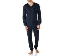 Herren Schlafanzug Pyjama, Baumwolle, navy blau