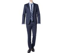 Herren Anzug Slim Fit Baumwoll-Stretch halbgefüttert dunkelblau