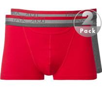 Herren Unterwäsche Trunk Baumwoll-Stretch rot-grau meliert grau,rot
