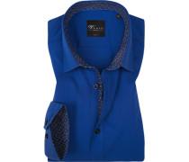 Herren Hemd, Body Fit, Popeline, blau