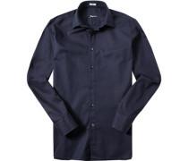 Herren Hemd Modern Fit Strukturgewebe tiefseeblau