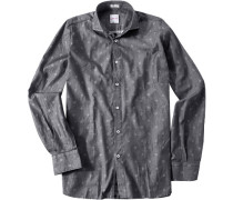 Herren Hemd, Modern Fit, Twill, grau-weiß gemustert
