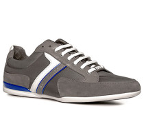 Herren Schuhe Sneaker Veloursleder-Nylon grau-weiß