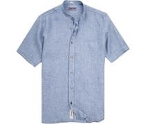 Herren Hemd Modern Fit Leinen blau-weiß meliert