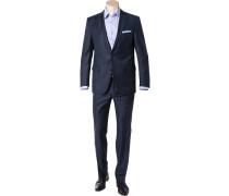 Herren Anzug Modern Fit Schurwolle marine meliert blau