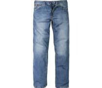 Herren Jeans 5-Pocket Baumwolle Blau blau