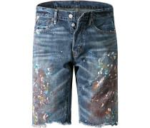 Herren Bermudas Slim Fit Baumwolle jeansblau gemustert