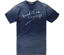 Herren T-Shirt Baumwolle blau mit Verlauf