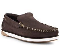 Schuhe Slipper Nubukleder dunkel